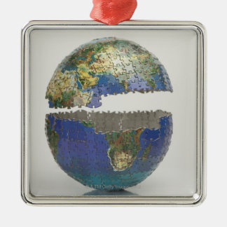 Puzzle of the globe metal ornament