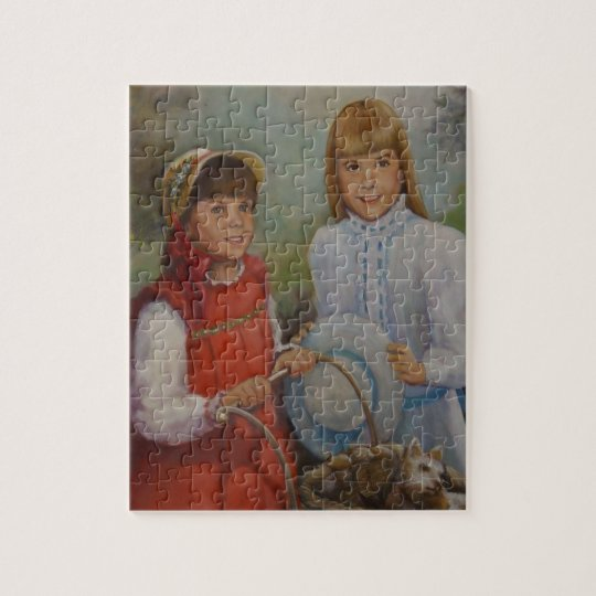 Puzzle of two Girls w/ Sunday Bonnets & Dresses