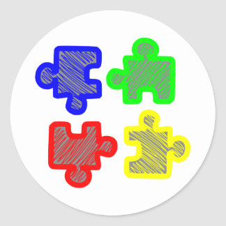 Puzzle parts jigsaw puzzles classic round sticker