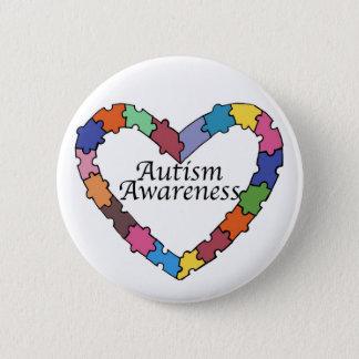 Puzzle Piece Heart Autism Awareness Button