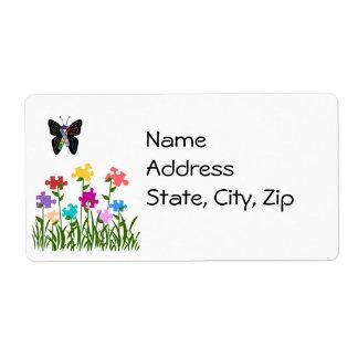 Puzzle pieces garden address labels