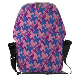 Puzzle Pieces Pink Blue and Purple Messenger Bag