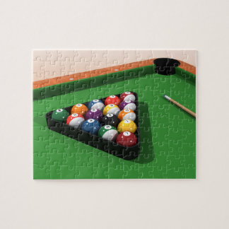 Puzzle: Pool Balls on Green Felt Jigsaw Puzzle