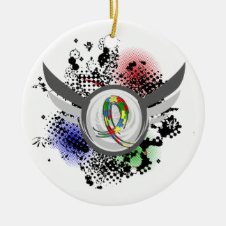 Puzzle Ribbon And Wings Autism Round Ceramic Ornament