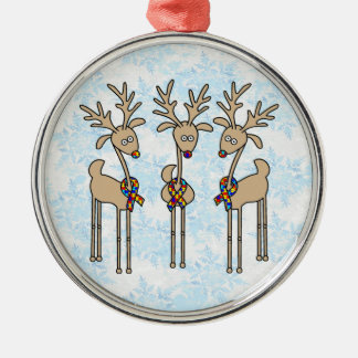 Puzzle Ribbon Reindeer - Autism Awareness Silver-Colored Round Ornament