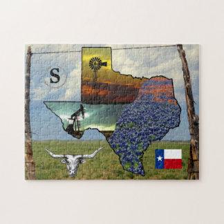 Puzzle - Texas - map, colorful photos, monogram