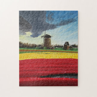 Puzzle Windmill and Tulips