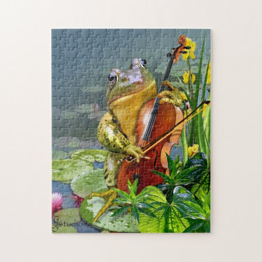 Puzzle with  Funny Cello Playing Frog