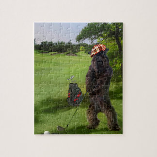 Puzzle with funny golfing terrier scene