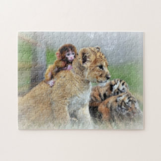 Puzzle with Gift Box/Tigers and Monkey