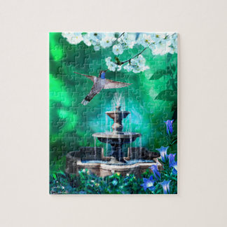 Puzzle with Hummingbird and Fountain