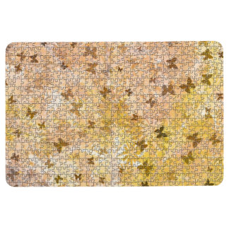Puzzled Butterflies and Daisies-Browns by STaylor Floor Mat