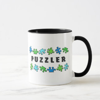 Puzzler with puzzle pieces mug