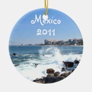 PV View With Crashing Wave; Mexico Souvenir Ceramic Ornament