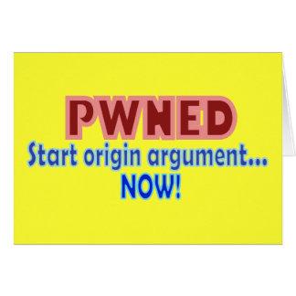 Pwned Pwn Owned Gamer Origin Design Greeting Card