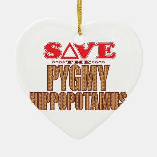 Pygmy Hippopotamus Save Ceramic Heart Ornament