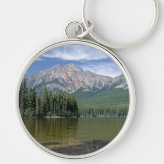Pyramid Mountain and Lake Alberta Canada Keychain