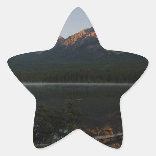 Pyramid Mountain and Lake at dawn Alberta Canada Stickers