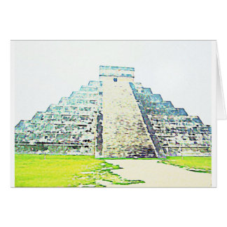Pyramid Of Chichen Itza Watercolor Design Card