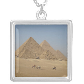 Pyramid of Khufu and the Pyramid of Cheops Silver Plated Necklace
