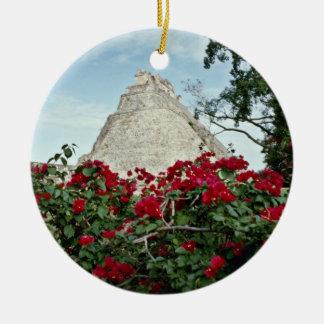 Pyramid Of The Magician With Bougainvillea Round Ceramic Ornament