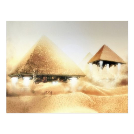 Pyramid Spaceships Postcard