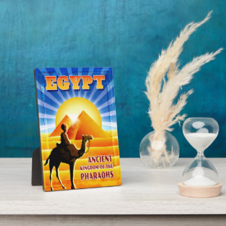 Pyramids at Sunset Egypt Travel Illustration Plaque