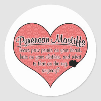 Pyrenean Mastiff Paw Prints Dog Humor Round Sticker