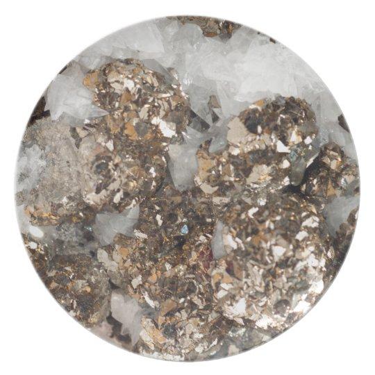 Pyrite and Quartz Plate