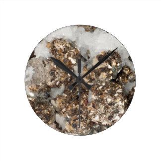 Pyrite and Quartz Round Clock