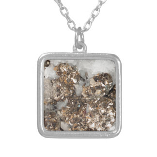 Pyrite and Quartz Silver Plated Necklace