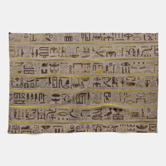 Pyrographed Golden Egyptian hieroglyphs on wood Kitchen Towel