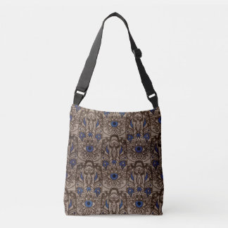 Pyrographed  Hamsa Hand with color on Wood Crossbody Bag
