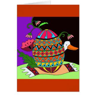 Pysanka and Duck Ukrainian Folk Art Card