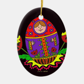 Pysanka Christmas Ceramic Ornament