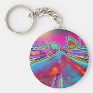 pyschadelic road basic round button keychain