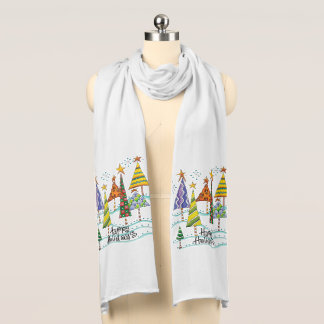 Pyschedelic Christmas Trees Holiday Scarf
