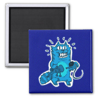 pyscho cat and unfortunate mouse funny cartoon magnet
