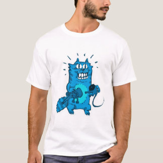 pyscho cat and unfortunate mouse funny cartoon T-Shirt