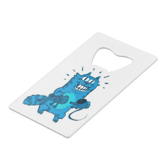 pyscho cat and unfortunate mouse funny cartoon wallet bottle opener