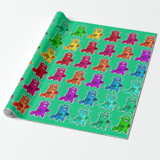 pyscho cat and unfortunate mouse funny cartoon wrapping paper