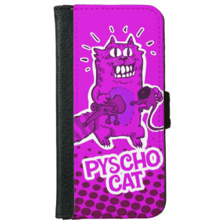 pyscho cat and unlucky mouse funny cartoon iPhone 6 wallet case