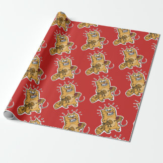 pyscho cat catched on red-handed funny cartoon wrapping paper