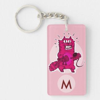 pyscho cat unlucky mouse funny cartoon monogram keychain