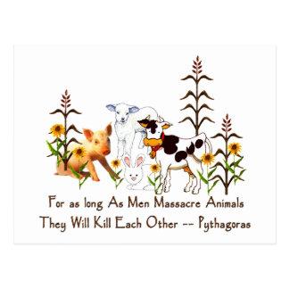 Pythagoras Vegetarian quote Postcard