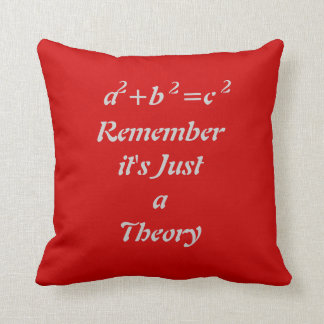 Pythagorean theorem funny red throw pillow