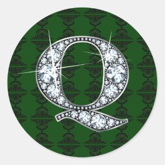 """Q"" Diamond Bling on Damask Sticker"