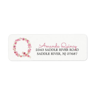 Q Initial Floral Monogram  Return Address Label