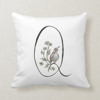 Q is for Quail and Queen Anne's Lace Pillow! Throw Pillow