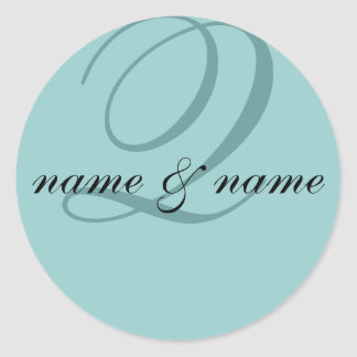 """Q"" monogram label, personalize first names Classic Round Sticker"